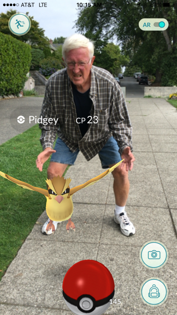 Dad chasing Pidgey Pokemon